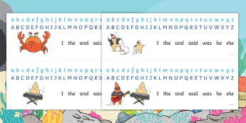 Starry Eyed Stan Alphabet Strips - English - Twinkl Originals, Fiction, under the sea, seaside, beach, oceans, KS1, EYFS, Independent Writing, sp