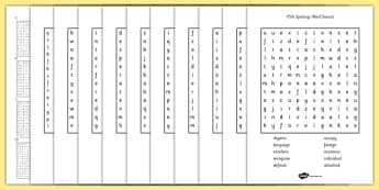 Year 5-6 Statutory Spelling List Wordsearch Pack - spell, pack