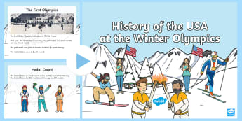 The History of the USA at the Winter Olympics PowerPoint - bobsleigh, snowboard, figure skating, United States,
