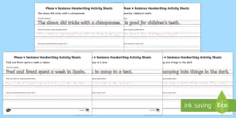 Phase 4 Sentence Handwriting Worksheet / Activity Sheets - Phase 4 Sentence Handwriting Sheets - handwriting, sentences, writing, sheets, activity, phase 4 pha