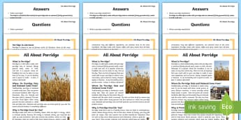 All about Porridge Differentiated Reading Comprehension Activity - Scotland, Scottish, Breakfast, Food, Oats, healthy, cereal,Scottish
