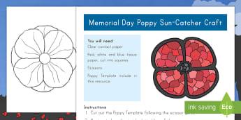 Memorial Day Poppy Sun Catcher Craft - Memorial Day, Memorial Day craft, Memorial Day sun catcher, poppy craft, poppy sun catcher craft,