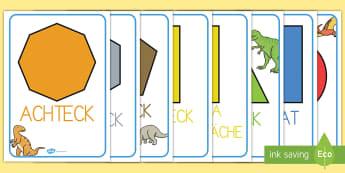 Geometrische Flächen mit Dinosaurier A4 Display Poster - Geometrische Flächen mit Dinosaurier Poster, 2D Flächen, Geometrische Flächen Poster, Geometrisch