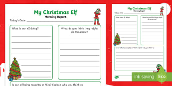 Christmas Elf Morning Report Writing Template - christmas, elf, morning, report