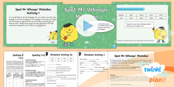 PlanIt English Y1 Term 3A Assess and Review Spelling Pack - Spellings Year 1, Term 3A, assessment, assess, review, cloze procedure, dictation, mistakes, Mr Whoo