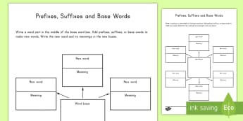 Word Study Graphic Organizer Activity Sheet - word study, activity sheet, suffix, prefix, organizer, English, Worksheet