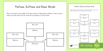 Word Study Graphic Organizer Worksheet / Activity Sheet - word study, worksheet / activity sheet, suffix, prefix, organizer, English, Worksheet