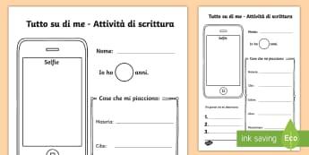 Tutto su di Me Scrivere Attività - tutto, su, di, me , selfie, presentazione, italiano, italian, materiale, scolastico, primo, giorno ,