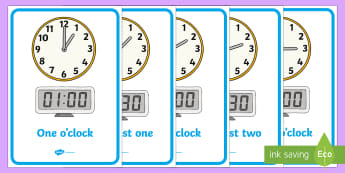 Analogue and Digital Clocks with Words Display Poster -  - o'clock,  digital, Half Past, Time resource, Time vocabulary, clock face, quarter past, quarter to,