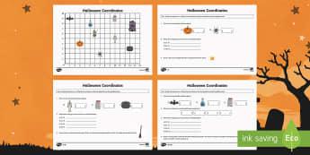Year 4 Halloween Coordinates Activity - year 4, halloween, coordinates, activity, hallows eve, hallowe'en, samhain