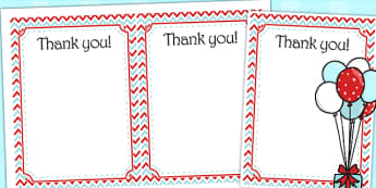 Zig Zag Birthday Party Thank You Cards Red And Blue - birthdays