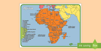 Geography Continents of the World Africa Display Poster English/Italian - ks1, geography, continents of the world, posters, display, africa,continenets,continents of thw worl