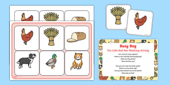 The Little Red Hen Matching Activity Busy Bag Prompt Card and Resource Pack