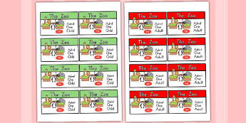 Zoo Role Play Tickets - zoo, animals, animal, ticket, lion, tiger