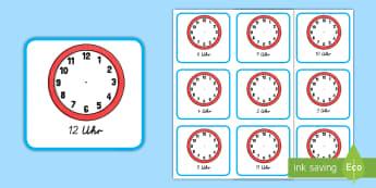 Die Analoguhr: Gib die richtige Zeit an Arbeitsblätter - Zeit, Uhr, Uhrzeit, Zeitangabe, Analoguhr, morgens, abends, die Zeit angeben, Zeit lernen,German