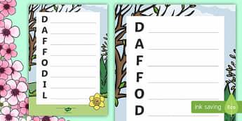 Daffodil Acrostic Poem - Spring UK, daffodils, flowers, spring, acrostic, acrostic poetry