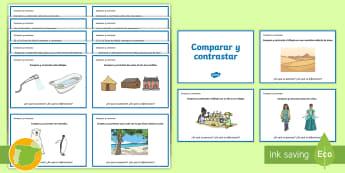 Tarjetas de trivial: Compara y contrasta - lectura, leer, diferencias, igual, parecerse, ,Spanish