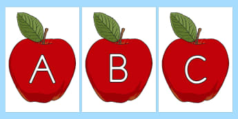 A-Z Alphabet on Red Apples - alphabet display, ks1 alphabet display, eyfs alphabet display, alphabet fruit