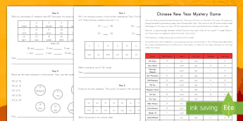 Chinese New Year Mystery Game - Chinese New Year, math, mystery, game, problem solving, celebrations, China, addition, subtraction,