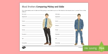 Blood Brothers Eddie and Mickey Comparison LA Activity Sheet - Blood Brothers, Willy Russell, Eddie, Mickey, Edward, comparison, revision, essay question, planning