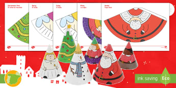 Christmas Cone People English/Spanish - crafts, art, decorations, EAL
