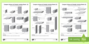 Year 6 Compare Volume of Cuboids  Differentiated Activity Sheets - box, swimming pool, cube, cuboid, volume