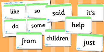 Phase 4 High Frequency Word Cards - Tricky word cards, decodable word cards, Letters and Sounds, Phase 4, Phase four, Foundation, Literacy, reading sentences, captions