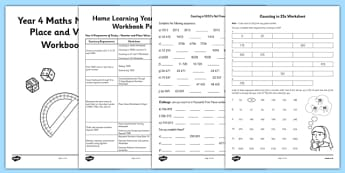 Year 4 Maths Number and Place Value Workbook - place value, booklet