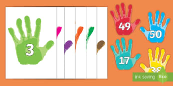 Numbers 0-50 on Handprints Cut-Out - Handprint, Foundation Numeracy, Number recognition, Number flashcards, 0-30, A4, display, ourselves,
