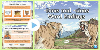 -tious and -cious Word Endings PowerPoint -  SPaG, GaPS, creating adjectives, noun into adjective, suffix, words with shun sound, spelling rules
