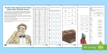 LKS2 The Place Value Mystery of the Thief at Gideon Gold\'s Chocolate Factory Maths Game - maths mystery games, place value, compare and order numbers, y3 maths, y4 maths, murder mystery
