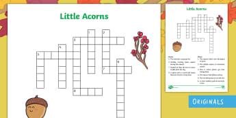 Little Acorns Crossword - find, clues, solve, phrase, description, oak, growing, plants, change, autumn seasons