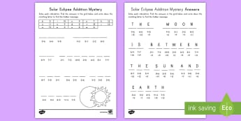Solar Eclipse Addition Mystery Activity Sheet - Solar Eclipse 2017, earth moon and sun, solar eclipse science, adding, problems, worksheet