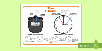 Time Vocabulary Word Mat English/Spanish - time vocabulary, word mat, writing aid, mat, vocabulary, time, day, second, minute, hour, o'clock,