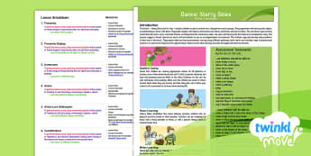 Twinkl Move - Year 1 Dance: Starry Skies Planning Overview - Dance Starry Skies, PE, Dance, Key Stage 1, KS1, Fireworks, Streamer, Movement, Year 1, Y1, Exercise