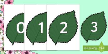 Numbers 0 to 100 on Springtime Leaves - numbers, 0-100, spring, leaf