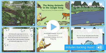 Jungle and Rainforest Songs and Rhymes PowerPoints Pack - Jungle and Rainforest, forest, amazon, singing, song time, animal songs, frog, monkey, parrot, eleph