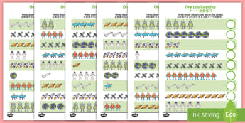 Space Themed One Less Counting Activity Sheet English/Mandarin Chinese - numeracy, KS1, key stage 1, counting, numbers, subtraction, numbes, spce, substraction, countng, cou