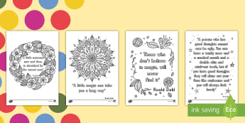 Roald Dahl Quotes Mindfulness Coloring Activity - Roald Dahl, color, coloring, activity, art, author
