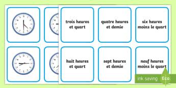 Cartes pour jeu de paires : Lire l'heure - heure, time, mathématiques,cycle 2, cycle 3, et quart, et demie, moins le quart