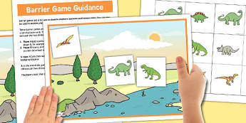 Dinosaur Barrier Game - dinosaur, barrier, game, activity, class