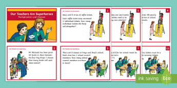 Our Teachers Are Superheroes Multiplication and Division Maths Challenge Cards - multiply, divide, word, problems, solve, questions, apply