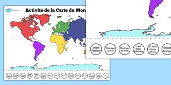 Activité de la Carte du Monde - french, world, map, labelling, activity