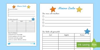 Meine Ziele für die Freiarbeit Arbeitsblatt - DE Klassenorganisation (Classroom Organisation), Freiarbeit, study time
