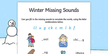 Winter Missing Sounds Worksheet - winter, phase 2, sounds