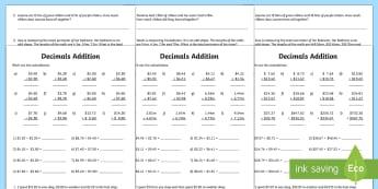 Decimals Addition Activity Sheet - year 5, year 6, adding decimals, addition, fractions and decimals.,Australia