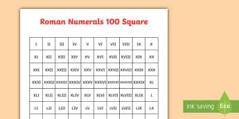 Roman Numerals 100 Square - roman numerals, roman, numerals, numbers, number, 100 square, square, 100