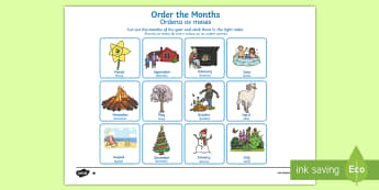 Months of the Year Cut and Stick Worksheet / Activity Sheet portuguese translation, English/Portuguese -  months, year, cut, stick, months of the year, worksheet, eal