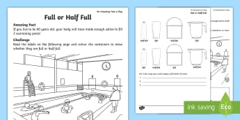 Full or Half Full? Activity Sheet - Amazing Fact Of The Day, activity sheets, powerpoint, starter, morning activity, June, KS1, year 1,