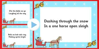 PowerPoint : Jingle Bells - Anglais LV - Christmas, chanson, chant, paroles, présentation, Noël, Langues vivantes